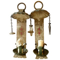 Pair of Spanish 19th Century Painted Iron Wall Sconces