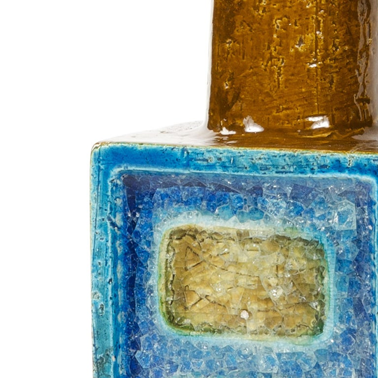 A Pair of Square Column Crackle Glazed Ceramic Table Lamps by Nils Kahler For Sale 1