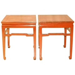 A Pair Of Square Red Lacquer End Tables