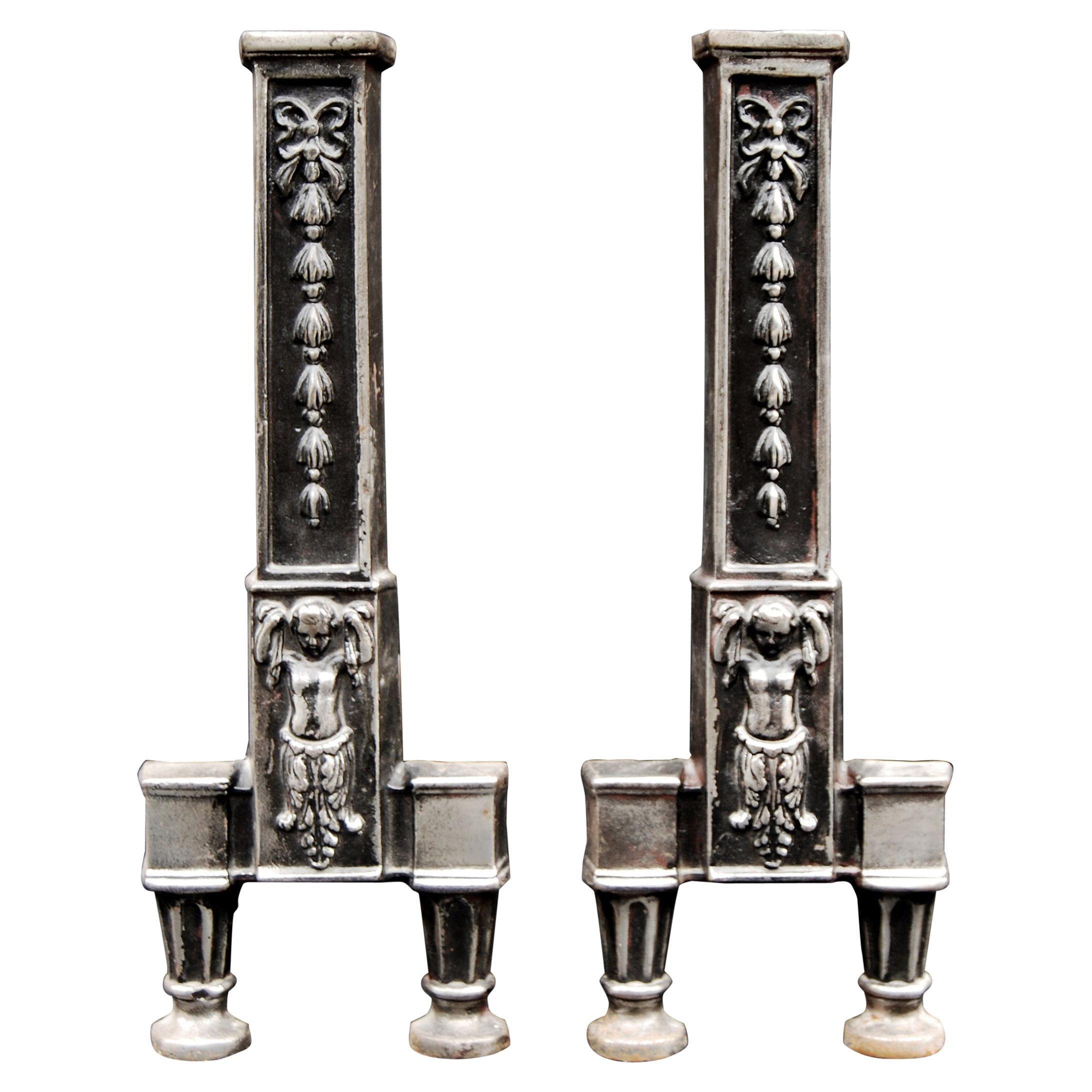 Pair of Steel Andirons