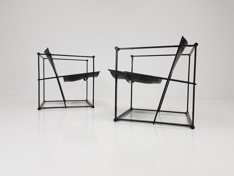 Pair of Steel and Leather FM62 Chairs by Radboud Van Beekum for Pastoe, 1980s For Sale 6