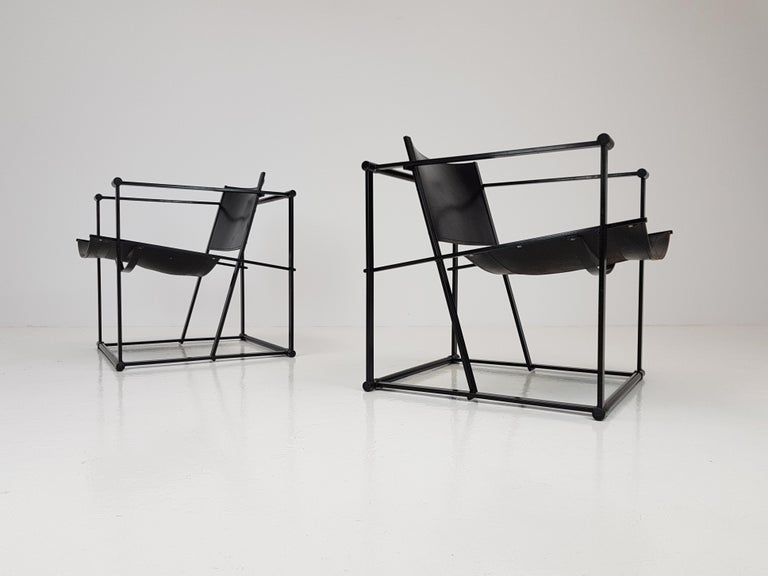 Pair of Steel and Leather FM62 Chairs by Radboud Van Beekum for Pastoe, 1980s For Sale 7