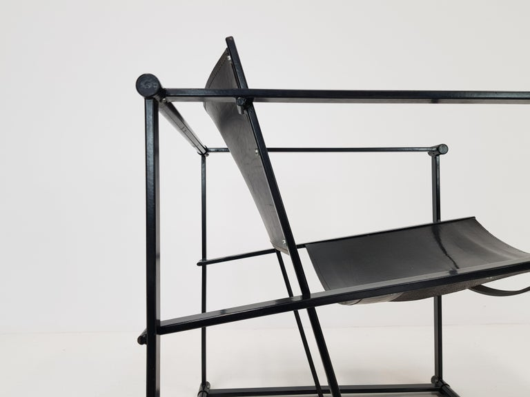 20th Century Pair of Steel and Leather FM62 Chairs by Radboud Van Beekum for Pastoe, 1980s For Sale