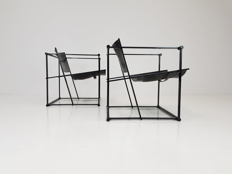 Pair of Steel and Leather FM62 Chairs by Radboud Van Beekum for Pastoe, 1980s For Sale 1