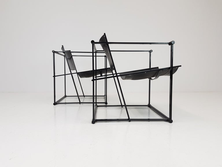 Pair of Steel and Leather FM62 Chairs by Radboud Van Beekum for Pastoe, 1980s For Sale 2