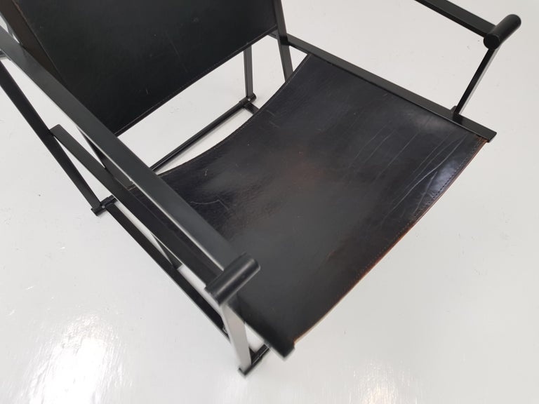 Pair of Steel and Leather FM62 Chairs by Radboud Van Beekum for Pastoe, 1980s For Sale 3