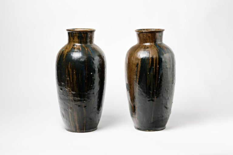Beaux Arts Pair of Stoneware Vase by Leon Pointu, circa 1930, France For Sale