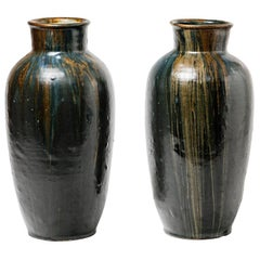 Pair of Stoneware Vase by Leon Pointu, circa 1930, France