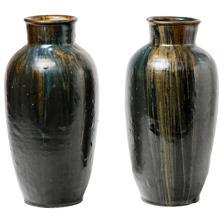 Pair of Stoneware Vase by Leon Pointu, circa 1930, France For Sale