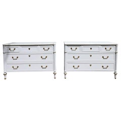 Pair of Stunning Painted Baker Commodes Chicago Gray Carrara White Marble Top