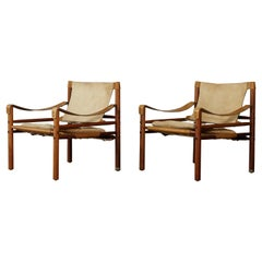 Pair of Suede and Rosewood Arne Norell Safari Chairs, Sweden, 1970s