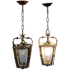 Pair of Superb Quality French Rocco Brass and Etched Glass Lantern Hall Light