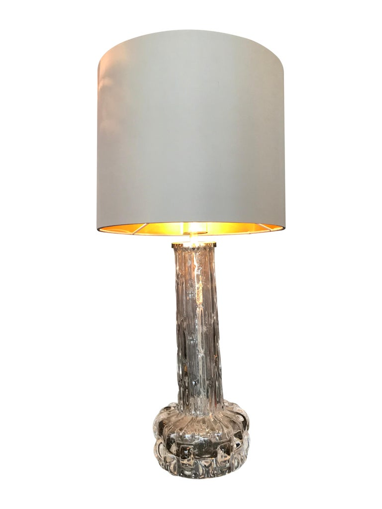 Mid-Century Modern Pair of Swedish Glass Lamps by Orrefors with Nickel Fittings For Sale