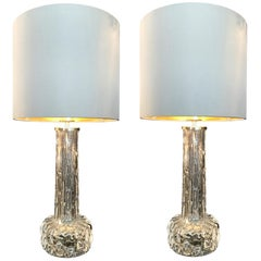 Pair of Swedish Glass Lamps by Orrefors with Nickel Fittings