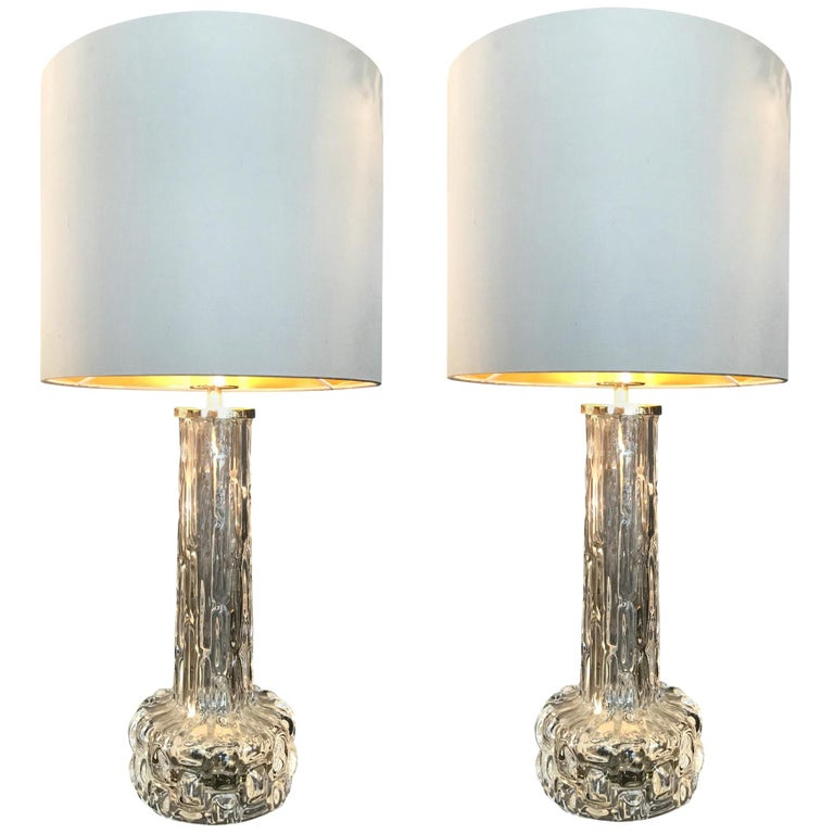 Pair of Swedish Glass Lamps by Orrefors with Nickel Fittings For Sale
