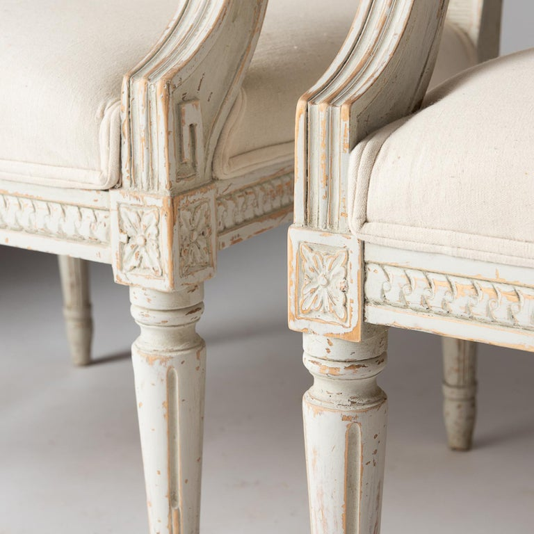 Hand-Carved Pair of Swedish Late Gustavian Period Stockholm Armchairs, circa 1800 For Sale