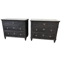 Pair of Swedish Late Gustavian Style Painted Commodes, circa 1900