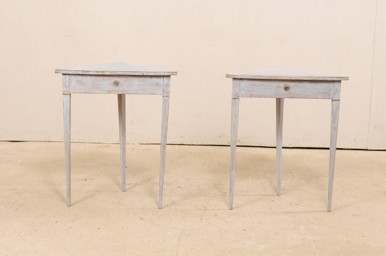 Pair of Swedish Painted Wooden Corner Tables, 19th Century In Good Condition For Sale In Atlanta, GA