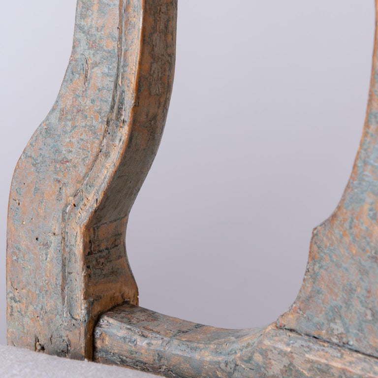 Pine Pair of Swedish Rococo Period Side Chairs, circa 1760 For Sale