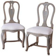Pair of Swedish Rococo Period Side Chairs, circa 1760