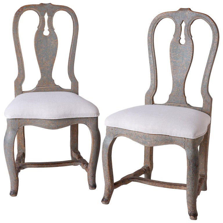 Pair of Swedish Rococo Period Side Chairs, circa 1760 For Sale
