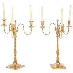 Pair of Swedish Skultuna Brass Candelabra, circa 1860s