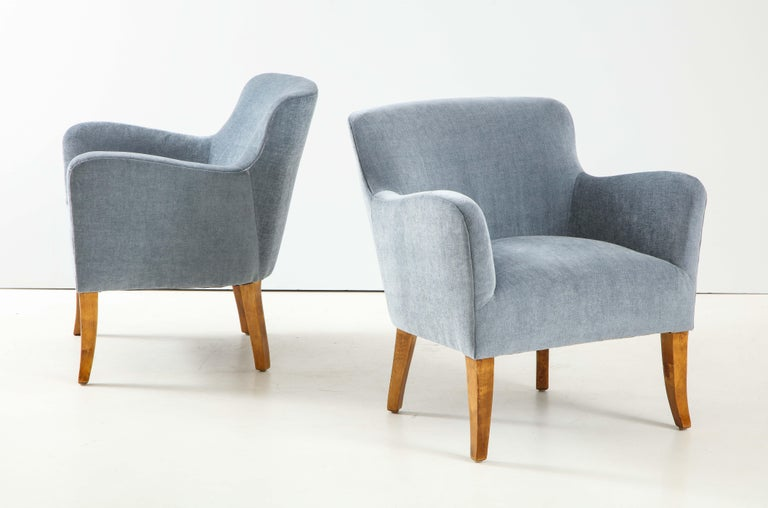 Pair of Swedish Upholstered Club Chairs, circa 1940 For Sale 4