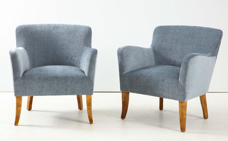 Scandinavian Modern Pair of Swedish Upholstered Club Chairs, circa 1940 For Sale