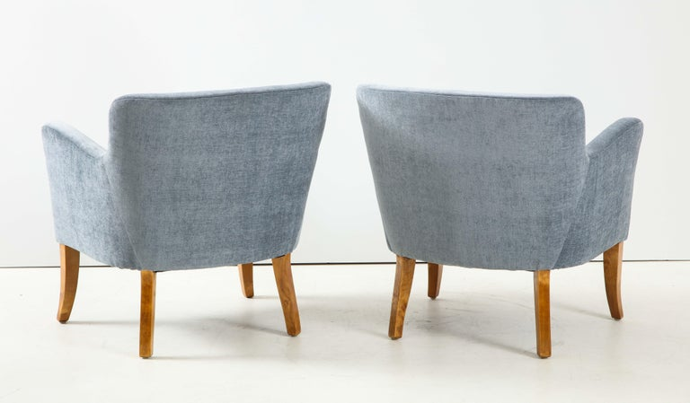 Mid-20th Century Pair of Swedish Upholstered Club Chairs, circa 1940 For Sale