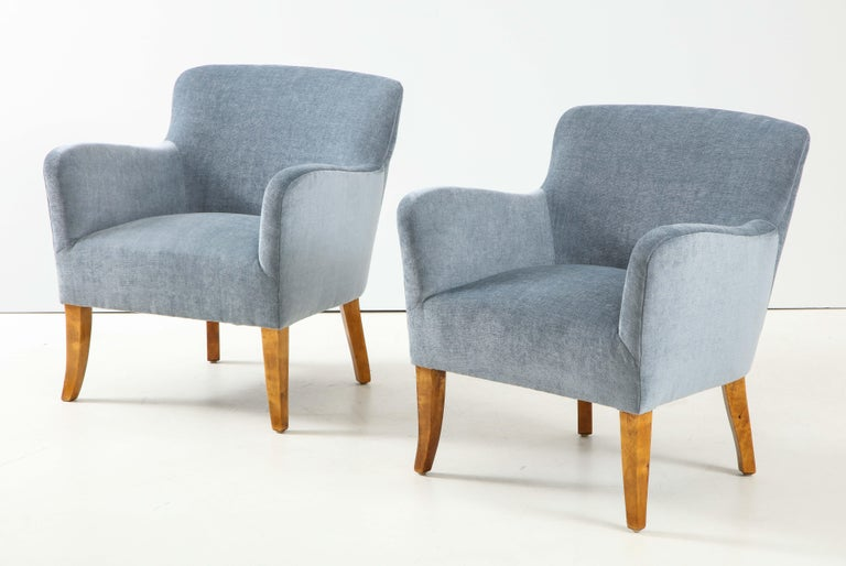 Birch Pair of Swedish Upholstered Club Chairs, circa 1940 For Sale