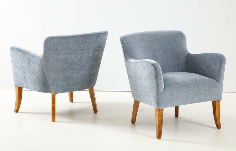 Pair of Swedish Upholstered Club Chairs, circa 1940 For Sale 2