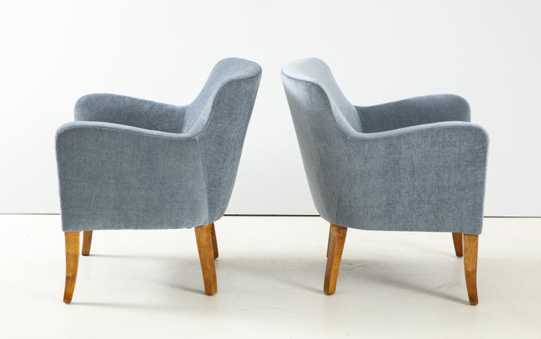 Pair of Swedish Upholstered Club Chairs, circa 1940 For Sale 3