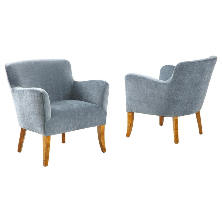 Pair of Swedish Upholstered Club Chairs, circa 1940 For Sale