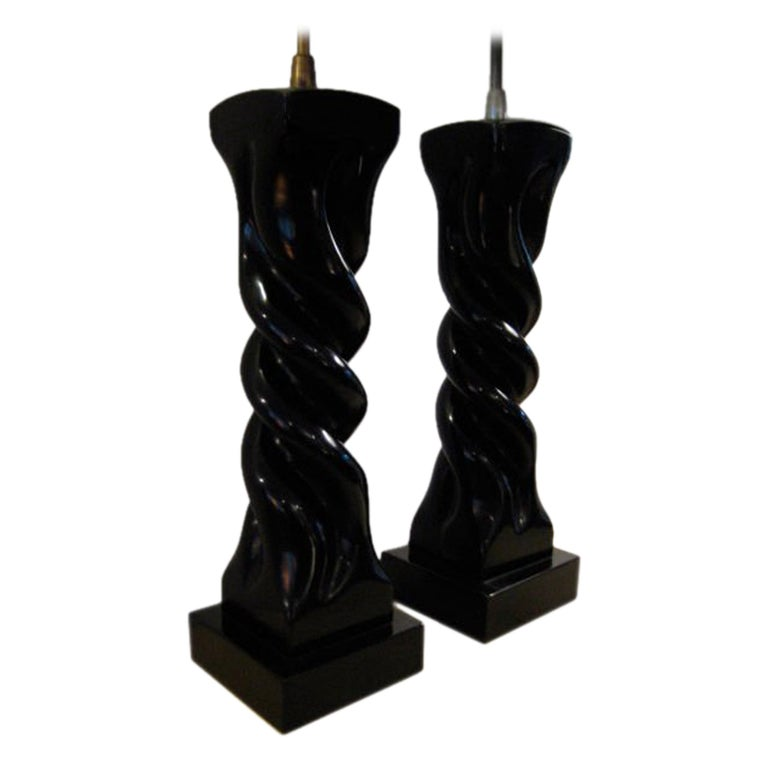 A Pair of Table Lamps by Heifetz in Black Lacquer For Sale