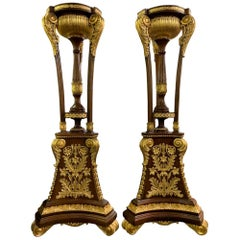 Pair of Tall French Empire Gilt Tocheres Planter Stands, 20th Century