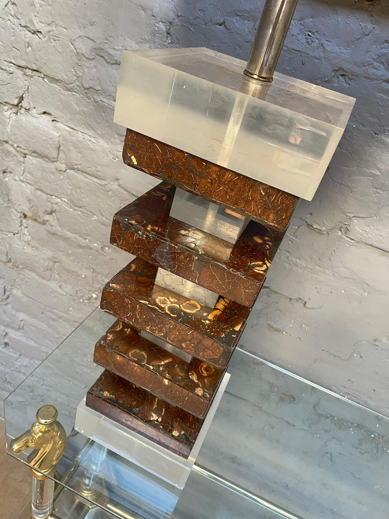 Pair of Tall Lucite and Faux Tortoise Shell Stacked Table Lamps For Sale 1