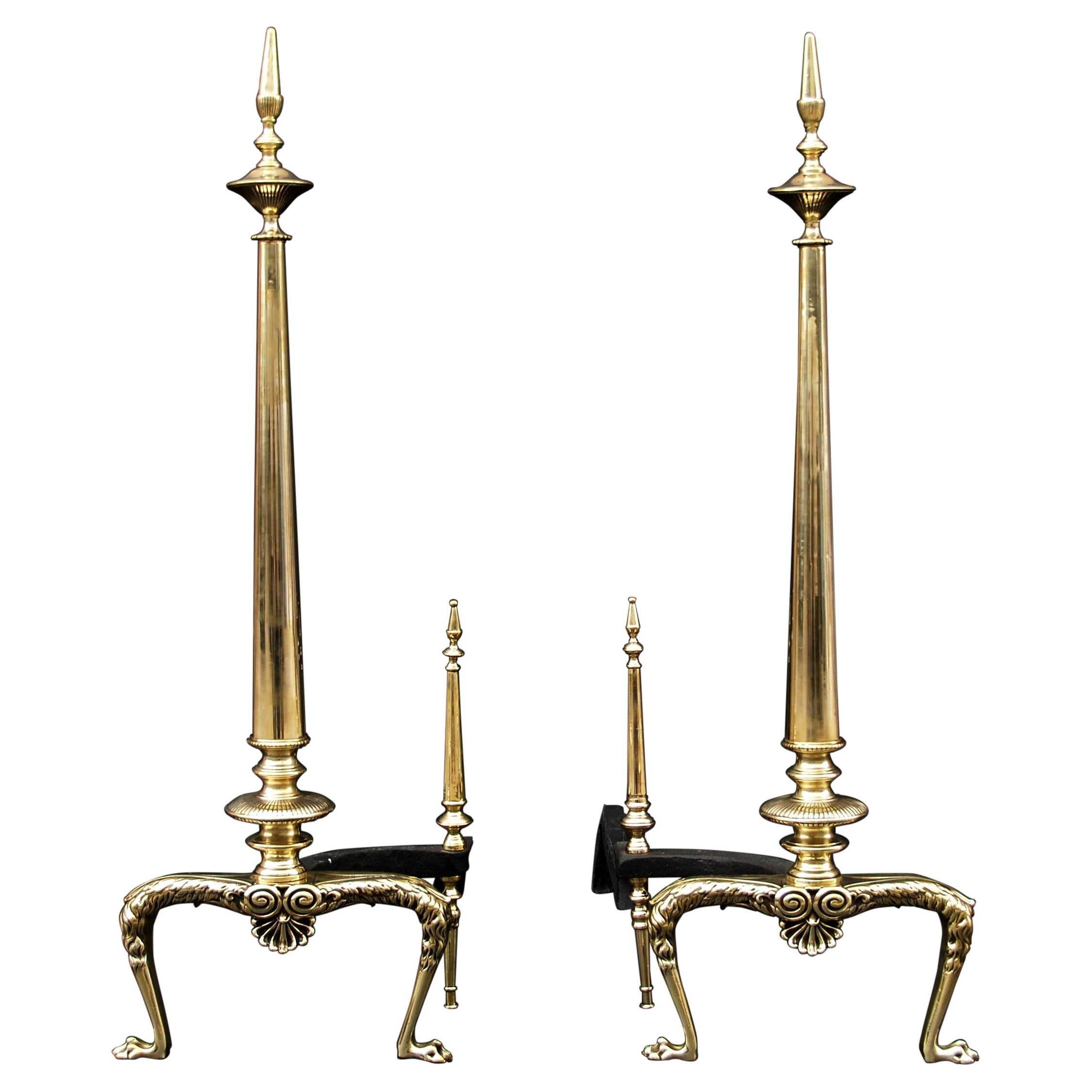 Pair of Tapering Brass Andirons