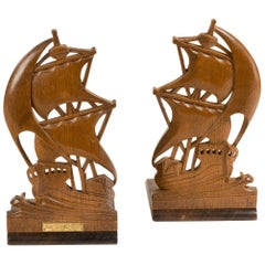 Pair of Teak Book Ends from HMS Iron Duke
