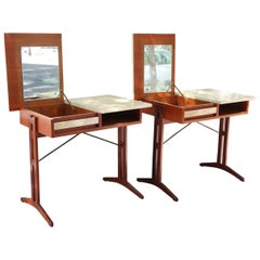 Pair of Teak, Lacquered Parchment and Glass Midcentury Dressers, Italy 1960