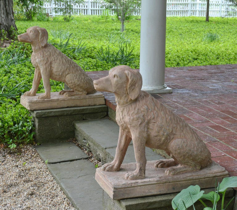 Pair of Terracotta Spaniels For Sale 3