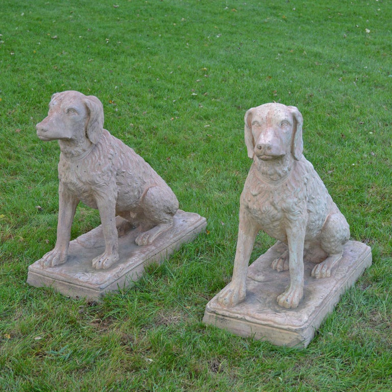 Arts and Crafts Pair of Terracotta Spaniels For Sale