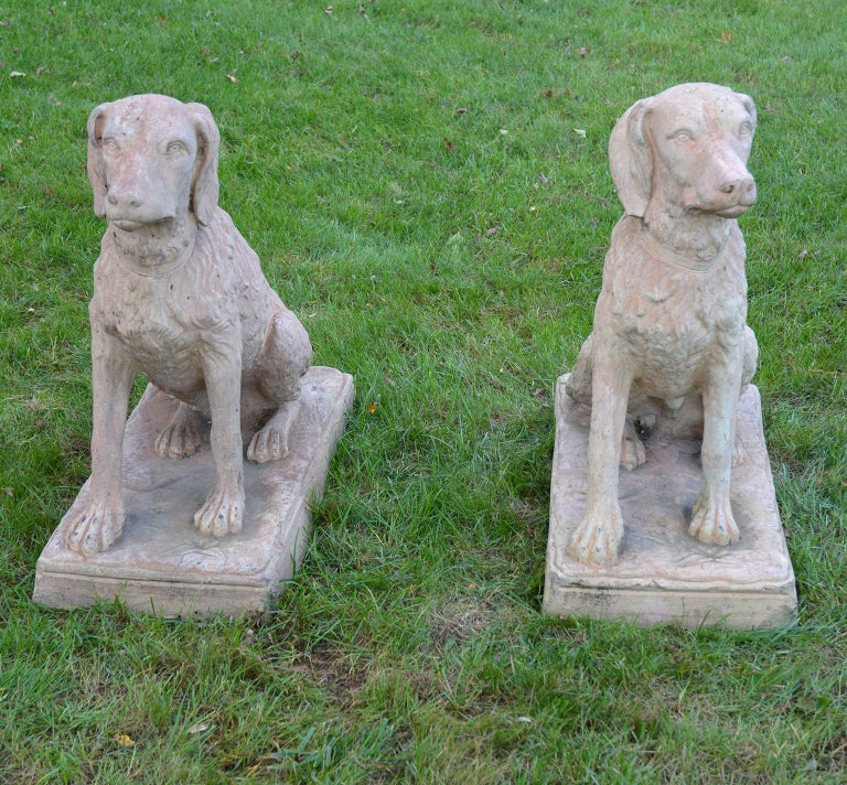 American Pair of Terracotta Spaniels For Sale
