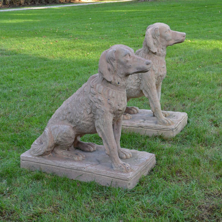 Cast Pair of Terracotta Spaniels For Sale