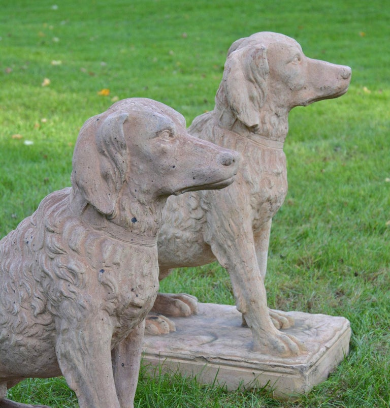 Pair of Terracotta Spaniels In Good Condition For Sale In Katonah, NY