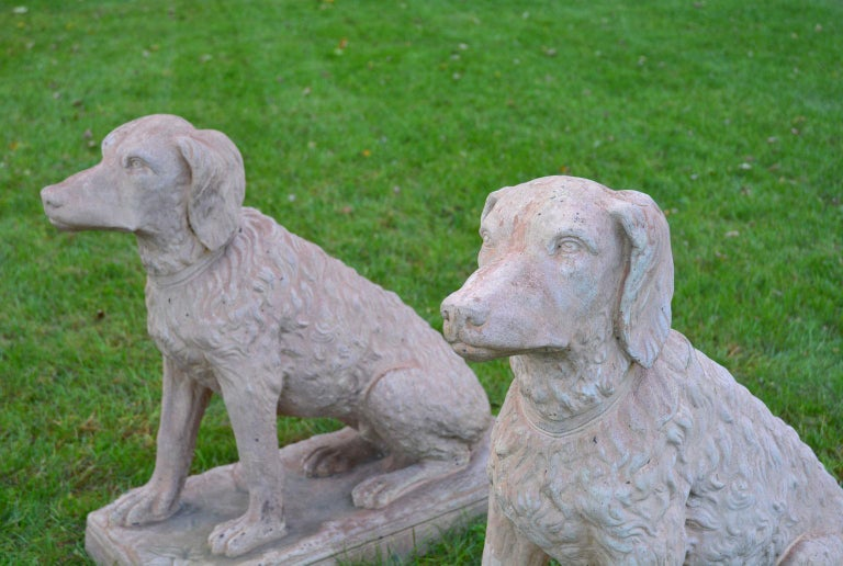 Late 19th Century Pair of Terracotta Spaniels For Sale