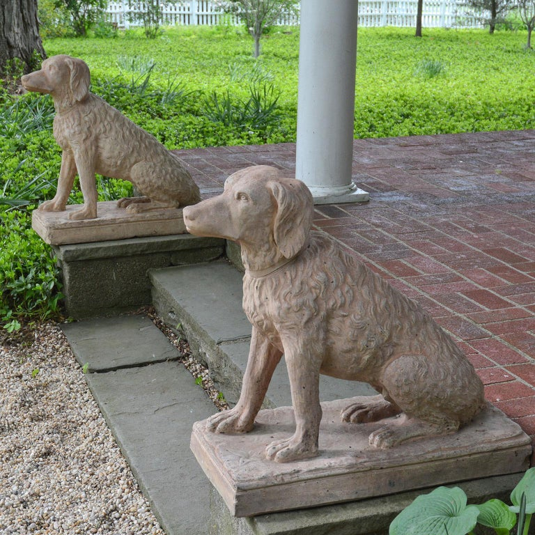Pair of Terracotta Spaniels For Sale 1