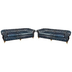 Pair of Three-Seat Victorian Walnut Chesterfield Sofas