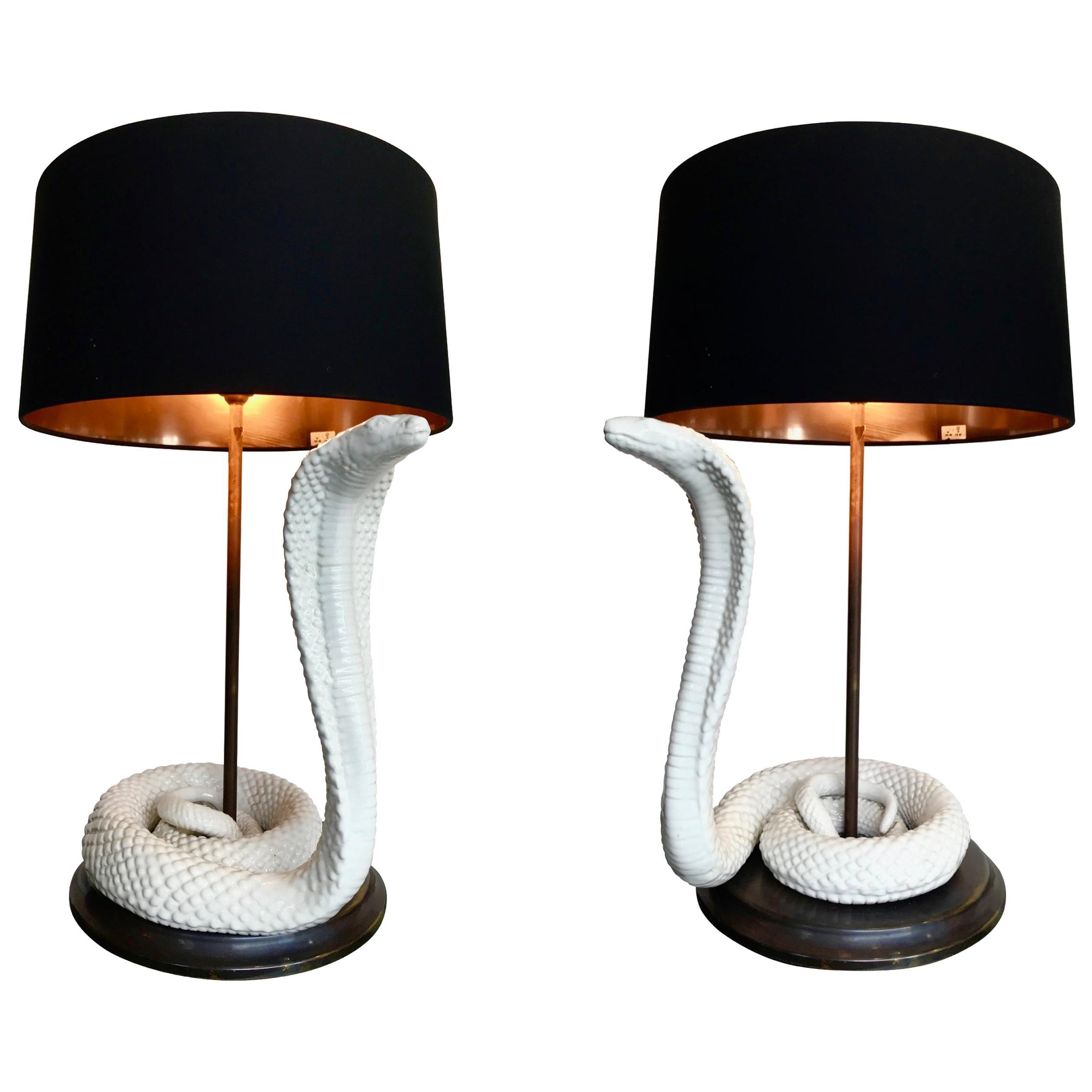 Pair of Tommaso Barbi Ceramic Cobra Lamps