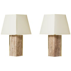 Pair of Travertine and Brass 'Marine' Table Lamps, by Dorian Caffot de Fawes