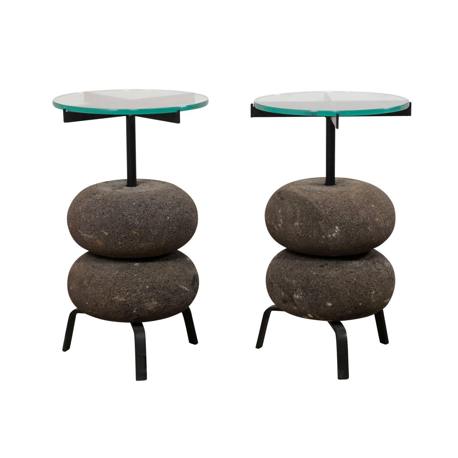 Pair Of Unique Custom Stone And Iron Glass Top Circular Side Tables For Sale